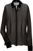 Metallic pinstripe silk-blend blouse