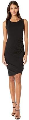 bobi Los Angeles Supreme Jersey Ruched Bodycon Dress (Black) Women's Dress