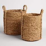 World Market Natural Hyacinth Braided Cameron Tote Baskets