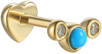 Pamela Love Turquoise and Diamond Bezel Crescent Single Thread Through Stud Earring - Yellow Gold