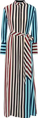 Diane von Furstenberg Paneled Striped Silk Crepe De Chine Maxi Shirt Dress