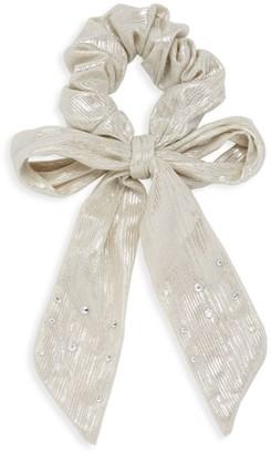 Bari Lynn Long Linen Crystal Bow Scrunchie