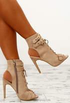 Pink Boutique Destructive Nude Faux Suede Lace Up Peep Toe Boots