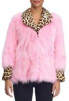 Simonetta Ravizza Fox Fur Jacket with Leopard-Print Collar