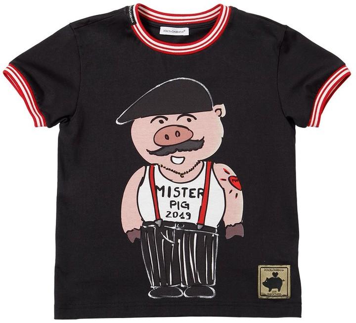 Dolce & Gabbana Mister Pig Print Cotton Jersey T-shirt