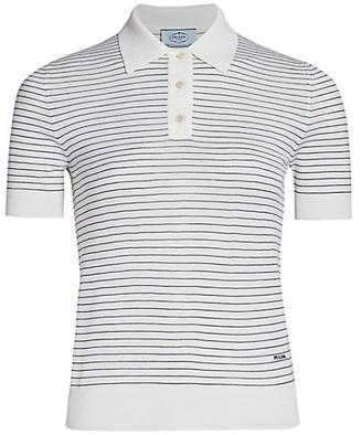 Prada Striped Wool Polo T-Shirt