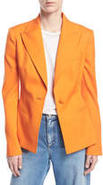 Oscar de la Renta One-Button Stretch-Wool Gabardine Jacket
