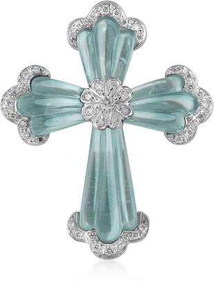 Carved Gemstone 18K Gold and Diamond Cross Pendant
