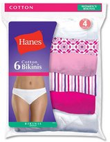Hanes Women's 6Pack 100% Cotton BIKINI Underwear Ladies Panties, Assorted