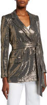 Badgley Mischka Sequin Long-Sleeve Belted Smoking Jacket