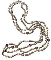 M Pearl Amethyst  Double layer Pearl Necklace