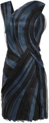 Lanvin Pleated Silk-organza And Satin Mini Dress