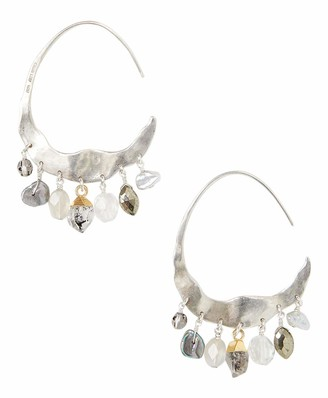 Chan Luu Sterling Silver Crescent Grey Pearl And Herkimer Mix Silver Hoop Earrings