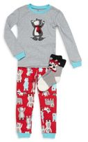 Petit Lem Boy's Three-Piece Bear Pajama Set