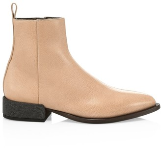 Brunello Cucinelli Monili-Heel Leather Boots