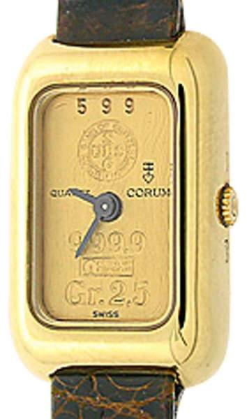 Corum Gold Ingot 18K Yellow Gold 2.5 gram 22mm Strap Watch