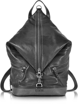 Jimmy Choo Fitzroy Black Satin Leather Backpack w/Mini Studs