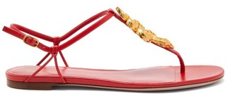 Valentino Maison Snake Leather Sandals - Womens - Red