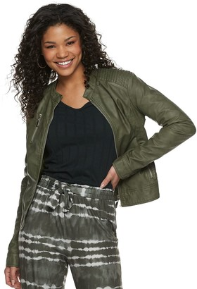 J 2 Juniors' J2 Distressed Faux Leather Jacket