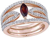 QVC 1 cttw Garnet and White Topaz Ring Jacket Set,Sterling