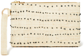 Kayu June Embroidered Woven Straw Pouch