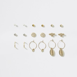 River Island Girls Gold shell and bee stud earring 9 pack