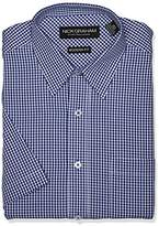Nick Graham Men's Modern Fit Gingham Point Collar Short Sleeve Dress Shirt