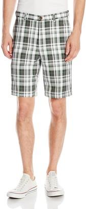 Haggar Men's Cool 18 Expandable Waist Plain Front Large Plaid Short