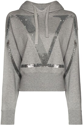 Valentino VLOGO cropped sequinned hoodie