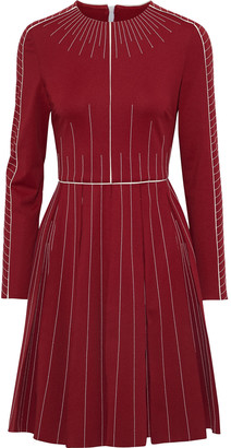 Valentino Pleated Embroidered Ponte Dress