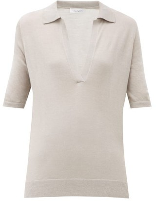 Gabriela Hearst Frank Jaipur Cashmere-blend Polo Top - Womens - Light Grey