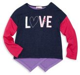 Design History Toddler's & Little Girl's Love Graphic Colorblock Top