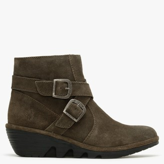 Fly London Perz Sludge Green Suede Wedge Ankle Boots