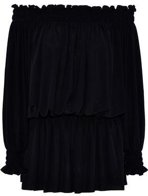 Norma Kamali Off-the-shoulder Shirred Stretch-jersey Blouse