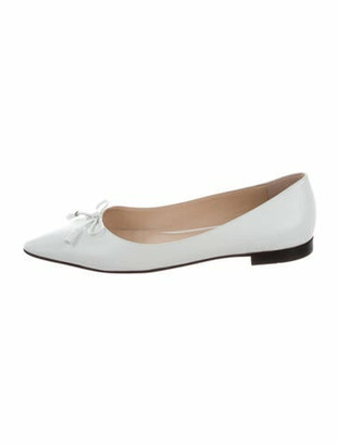 Prada Patent Leather Bow Accents Ballet Flats White