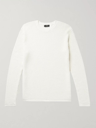 Theory Phanos Slim-Fit Waffle-Knit Cotton-Blend Sweater