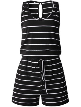 Goodnight Macaroon 'Jenny' Sleeveless Striped Romper (5 Colors)