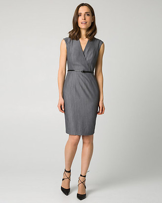 Le Château Pinstripe Viscose Blend V-Neck Shirtdress