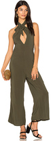 Blue Life Electra Tie Front Jumpsuit in Olive. - size L (also in M,S,XS)