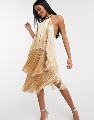 Asos Design DESIGN halter neck fringe tiered midi dress-Beige