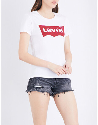 Levi's Women's Large Batwing White The Perfect Cotton-Jersey T-Shirt, Size: L