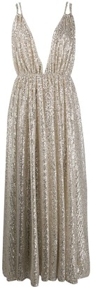 Amen Sequinned Plunge Gown