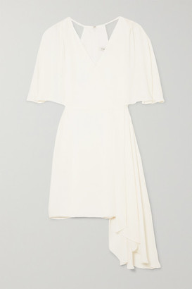 Halston Cutout Draped Chiffon Mini Dress - White