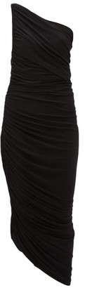 Norma Kamali Diana Asymmetric Ruched Midi Dress - Womens - Black