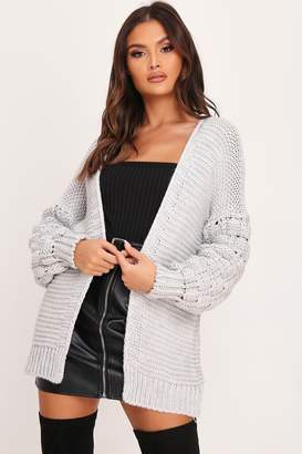 I SAW IT FIRST Chunky Bubble Knit Sleeve Cardigan