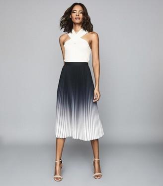 Reiss Mila - Ombre Pleated Midi Skirt in Black/ecru