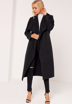 Missguided Petite Black Oversized Waterfall Duster Coat