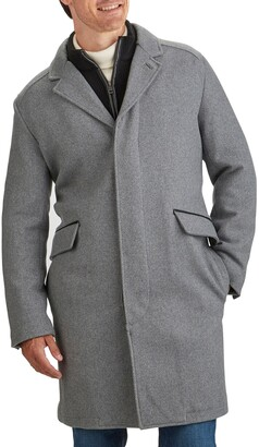 Cole Haan Wool Blend Overcoat with Knit Bib Inset