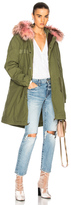 Mr & Mrs Italy Army Quilted Canvas Parka with Raccoon Fur in Green,Pink.