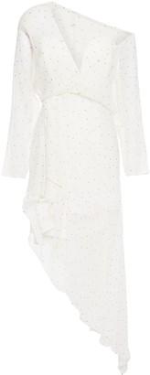 Mason by Michelle Mason Asymmetric Draped Polka-dot Silk-chiffon Dress